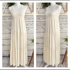 AEO Cream Crochet Lace Maxi Dress SZ XXS